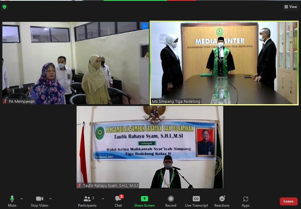 Pelantikan dan Pengambilan Sumpah Jabatan Wakil Ketua MS Simpang Tiga Redelong Berbasis Virtual
